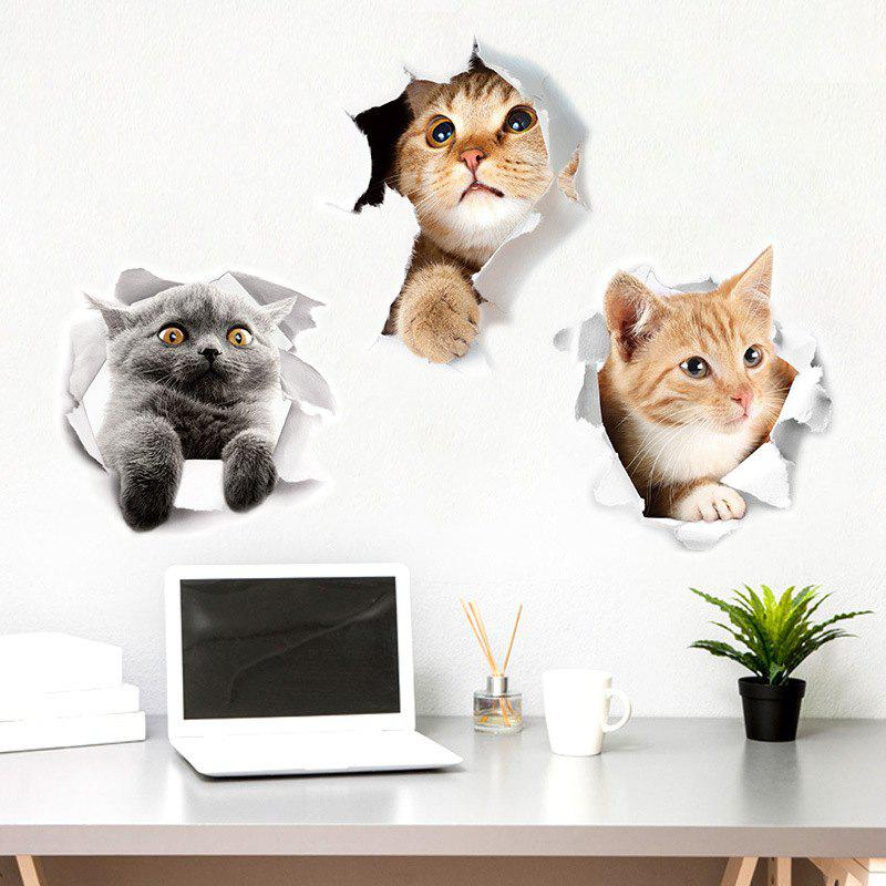 Fancy 3PCS Hole Cat 3D Bathroom Toilet Toilet Stickers DIY
