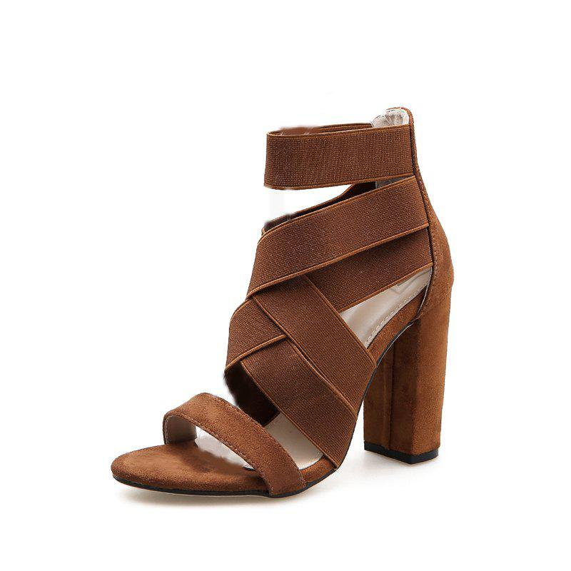 Store Women's Square Heel High Heels European Sandals