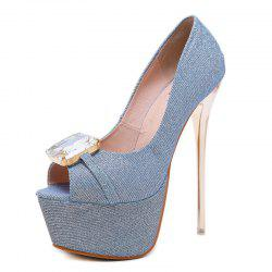 Women's Peep Toe Platform High Heels Luxury Party Sandals with Rhinestone -