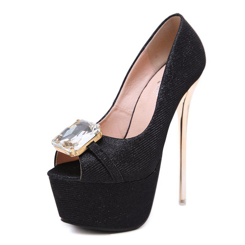 Shops Women's Peep Toe Platform High Heels Luxury Party Sandals with Rhinestone