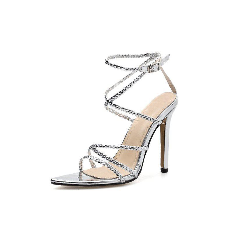 Latest Women's Stiletto High Heels European Sandals with Checkered