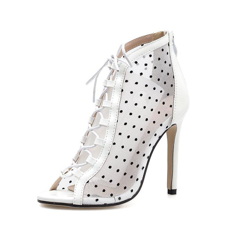 Trendy Women's Peep Toe Stiletto High Heels Sweet Sandals with Checkered