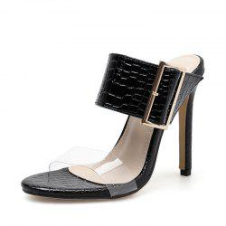 Women's Stiletto Mule Shoes Slim Party Slippers with Buckle -