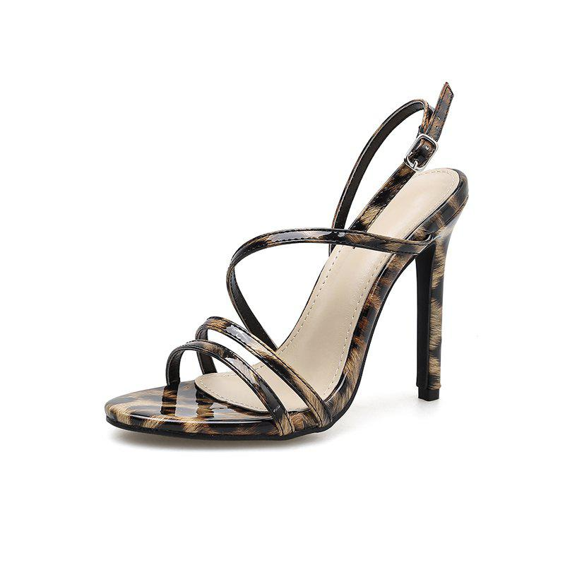 Chic Women's Stiletto Sandals Party High Heels with Leopard