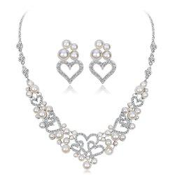 Elegant Style Set with Diamond Pearl Necklace Earrings Two Sets -