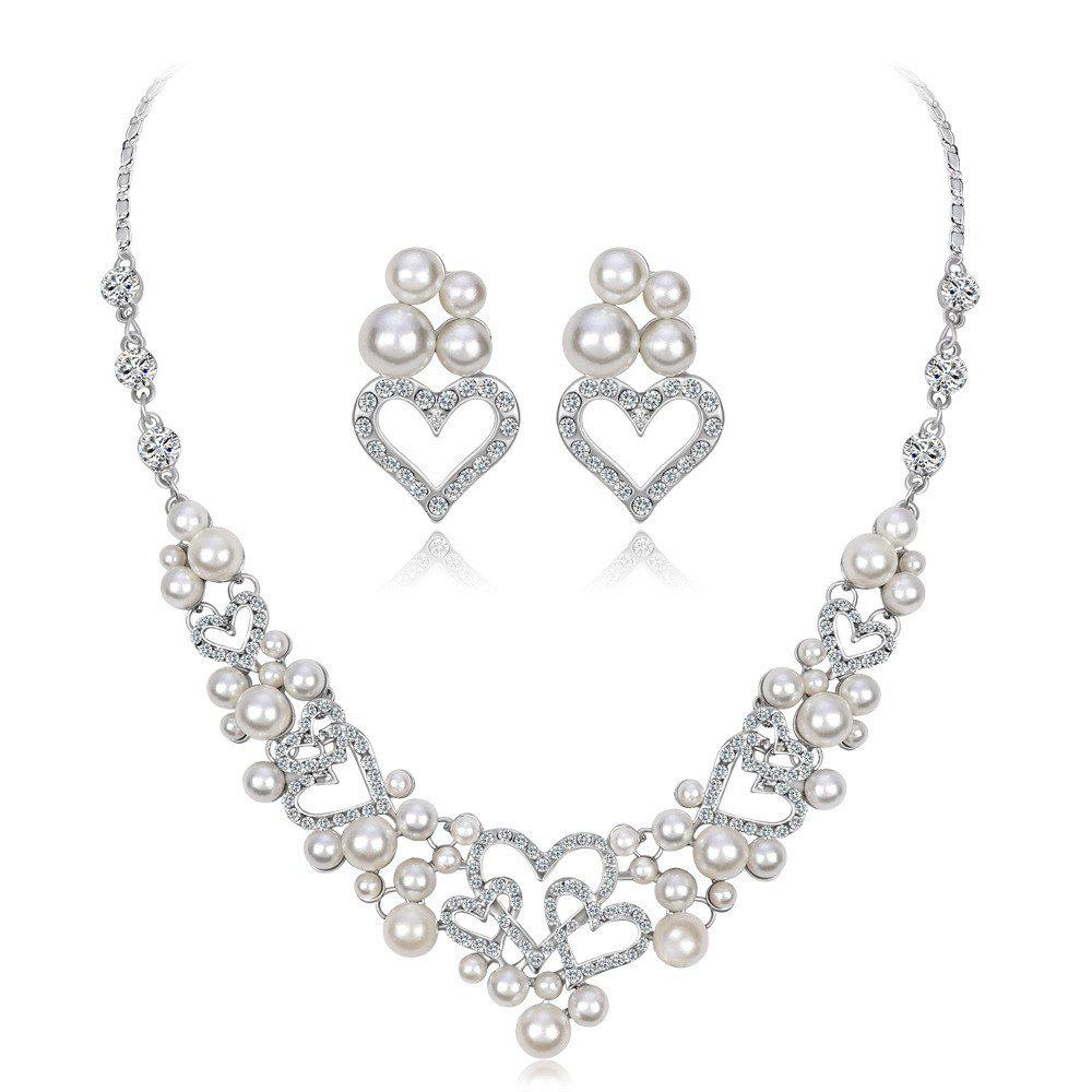Discount Elegant Style Set with Diamond Pearl Necklace Earrings Two Sets