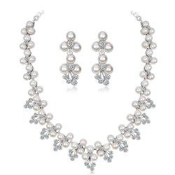 Diamond Pearl Necklace Earrings Bridal Accessories Set -