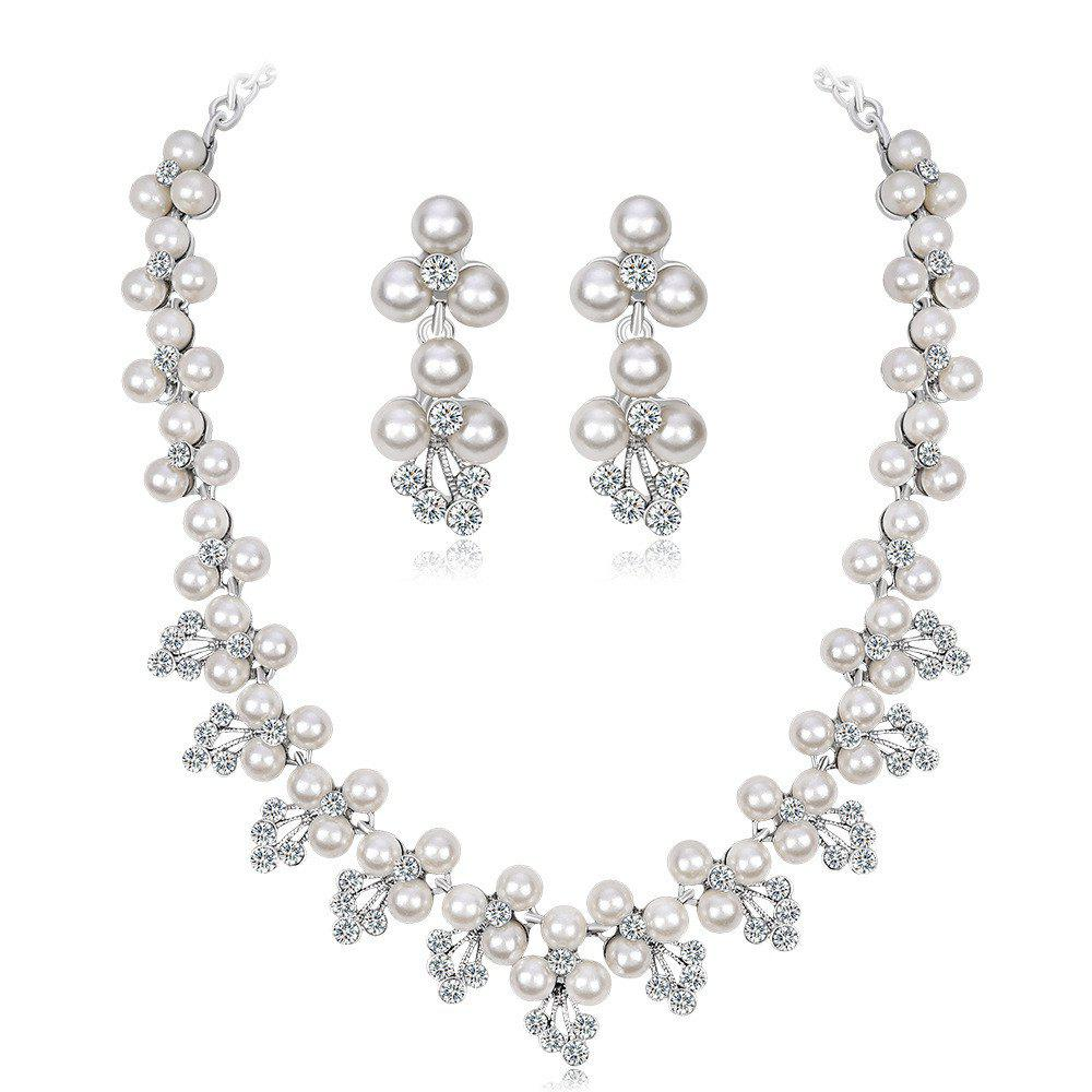 Cheap Diamond Pearl Necklace Earrings Bridal Accessories Set