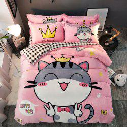 Pretty Cartoon Flannel Bedding Set 3PCS -