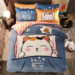 Pretty Cartoon Flannel Warm Bedding Set 4PCS -