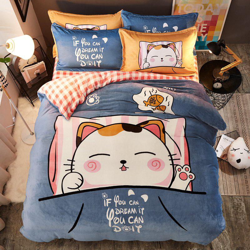 Trendy Pretty Cartoon Flannel Warm Bedding Set 4PCS