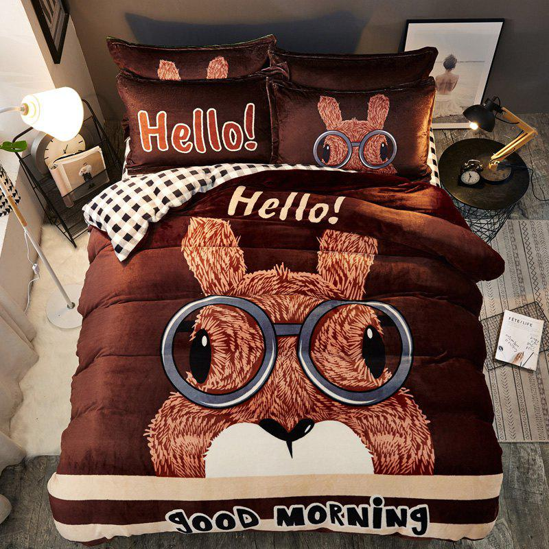 Outfit Pretty Cartoon Flannel Warm Bedding Set 4PCS