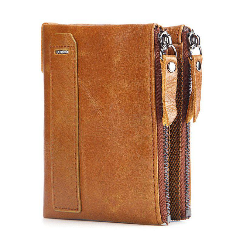 Chic Men'S Wallet genuine Leather Double Pocket