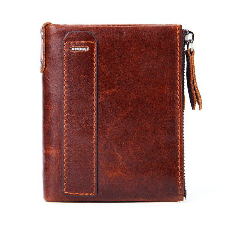 Fashion Men'S Wallet genuine Leather Double Pocket