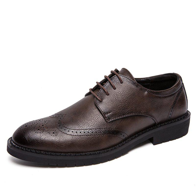Chic Men's Leather Shoes Nightclub Pointed Brock Plus Size  Fashion Shoes
