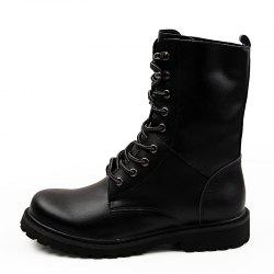 Leather High-Top Men'S Boots British Fan Shoes Motorcycle Boots -