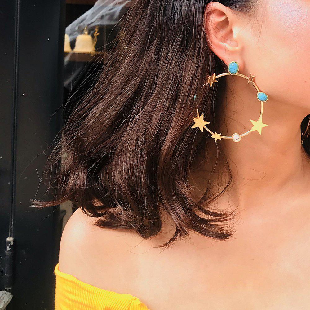 Outfits Exaggerated Metal Circle Drop Earrings