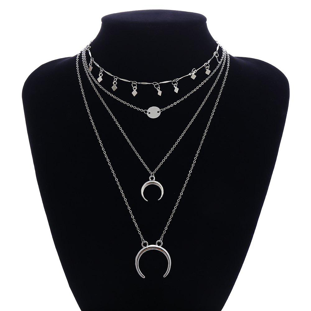 Outfits Multi-Layer Moon Sequin Necklace