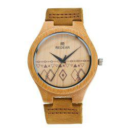 Leather Strap Wristwatch Bamboo Quartz Lover's Watch -
