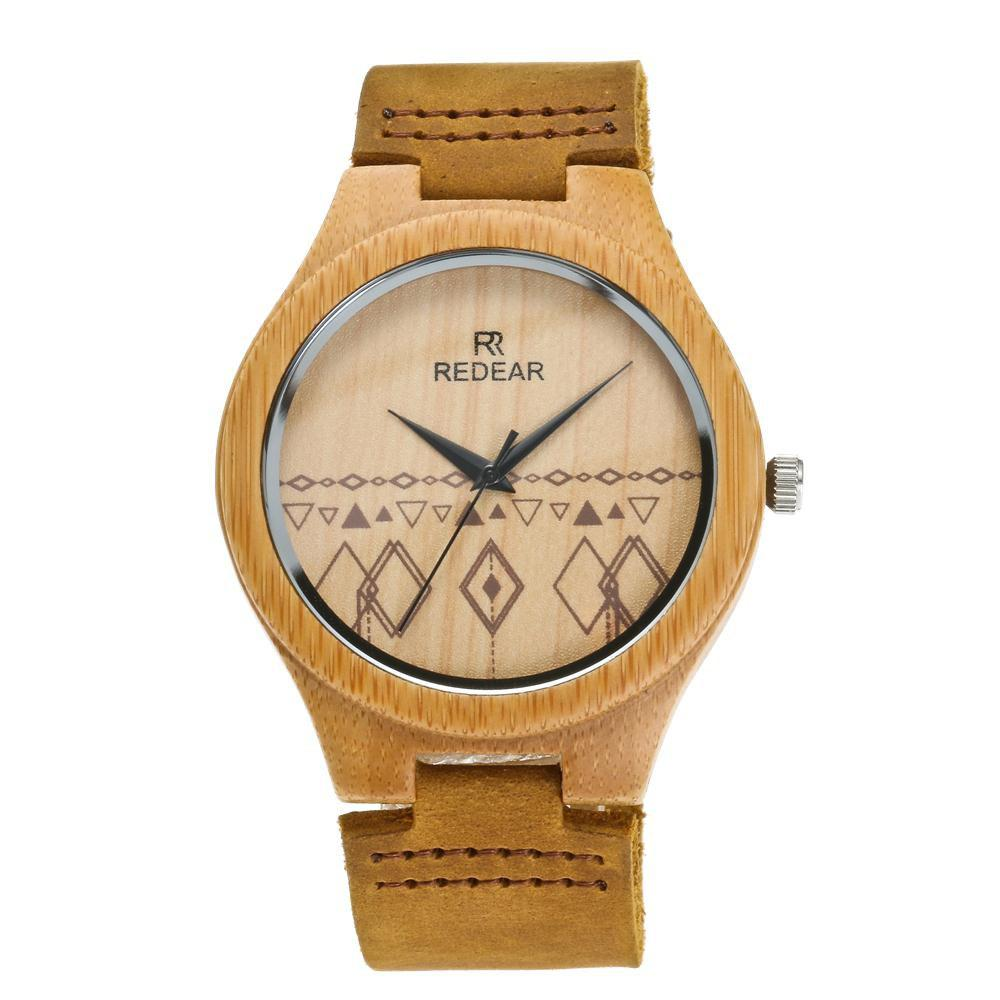 Outfits Leather Strap Wristwatch Bamboo Quartz Lover's Watch