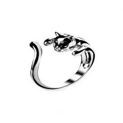 Fashionable Personality Women's Opening Black Cat Kitten Ring -