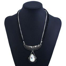 Water Droplets Crystal Crescent Chain -