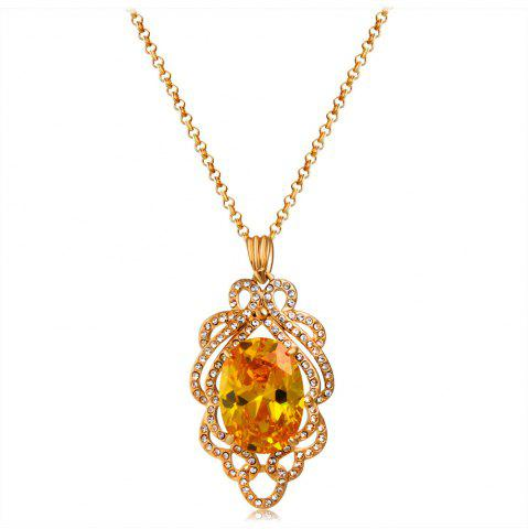 Golden Lace Cutout Zircon Yellow Crystal Pendant Necklace