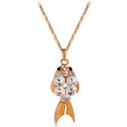 Gold and Zircon Crystal Goldfish Pendant Necklace -