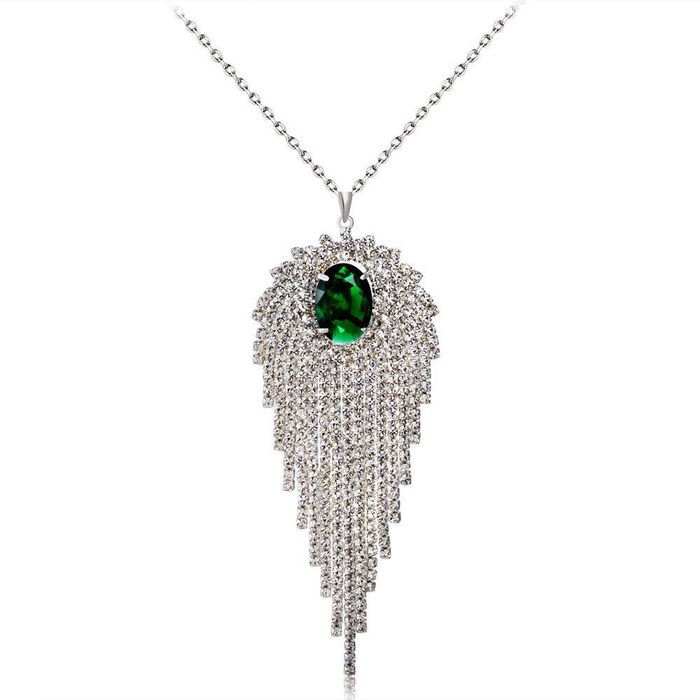 Outfit Silver Iris Embellished Green Crystal Comet Eye Pendant Necklace