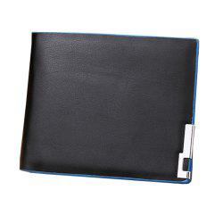 Fashionable Ultra-Thin Blue-Edged Short Men'S Wallet with Horizontal Wallet -