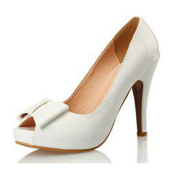 Patent Leather Fish Mouth Bow High Heel Water Resistant Large Size High Heel -