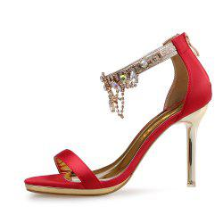Rhinestone Tassel High Heel Open Toe Rear Zipper Fine Heel Women'S Sandals -