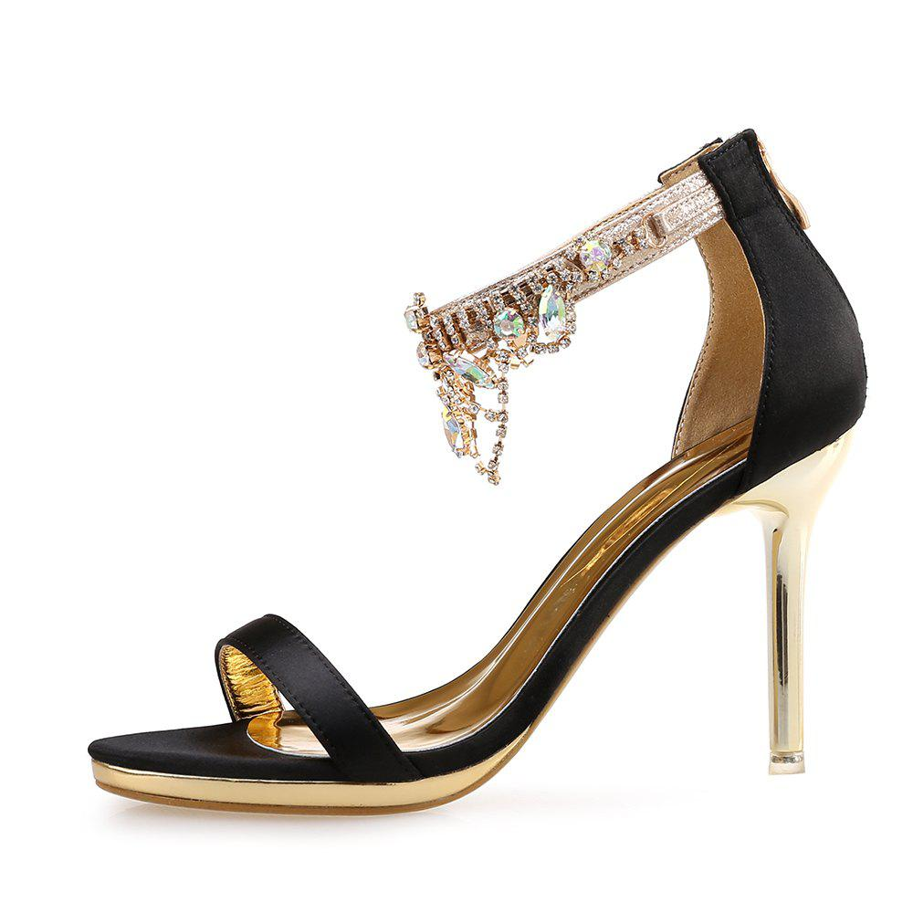 Fashion Rhinestone Tassel High Heel Open Toe Rear Zipper Fine Heel Women'S Sandals