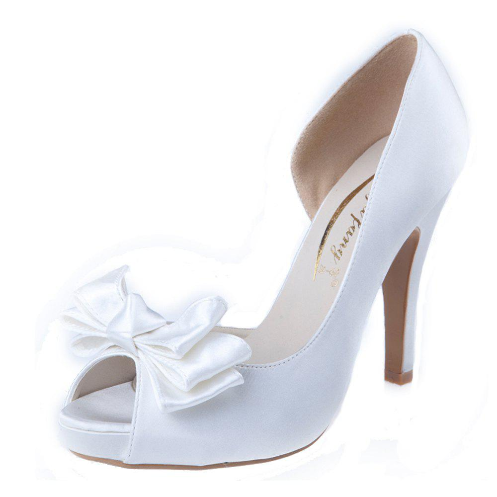 Fashion Fish Mouth Side Space Bow-Knot Water Resistant Fine High Heel Wedding Shoes