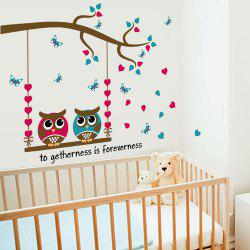 Cartoon Owl Love Butterfly Home Decoration Wall Sticker Removable -