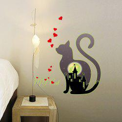 Cartoon Cat Mooncastle Love Luminous Fluorescent Wall Sticker Removable Sticker -