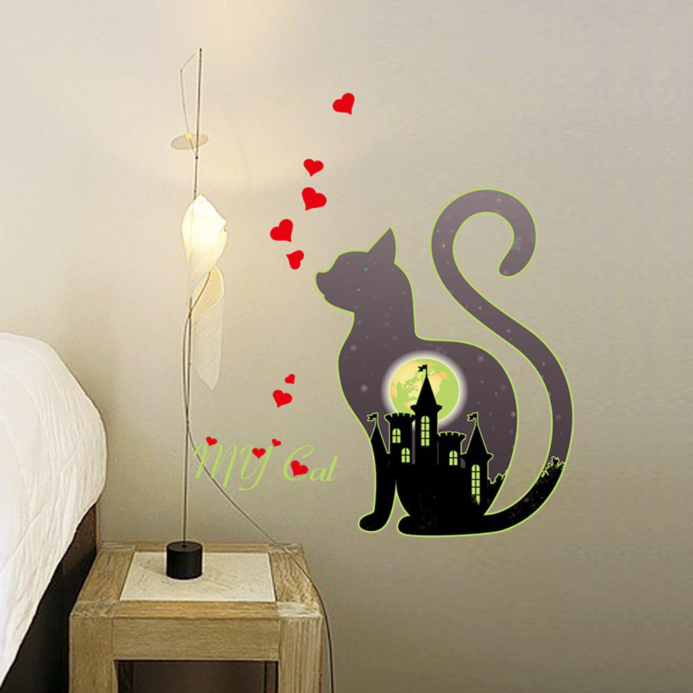 Best Cartoon Cat Mooncastle Love Luminous Fluorescent Wall Sticker Removable Sticker
