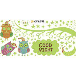 Cartoon Nightlight Owl Moon Star Luminous Fluorescent Wall Sticker Removable -