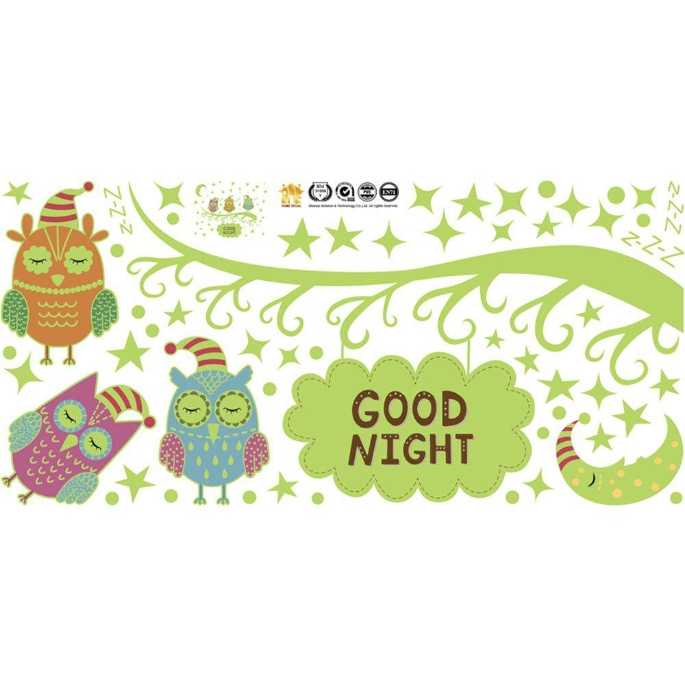 Buy Cartoon Nightlight Owl Moon Star Luminous Fluorescent Wall Sticker Removable