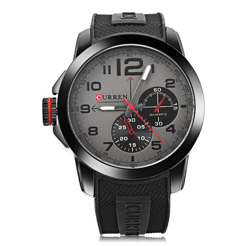 Hot CURREN Men Sport Military Quartz Round Dial Analog WristWatch with Silicone Band