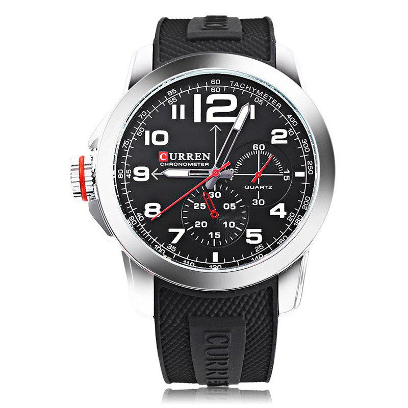 Affordable CURREN Men Sport Military Quartz Round Dial Analog WristWatch with Silicone Band