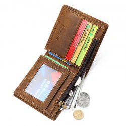 Wallet Small Vintage Crazy Horse Leather Short Purse Bifold -