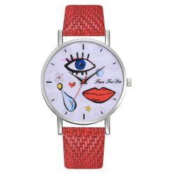 Funky Graffiti Watch Students Eyes Mouth Mirror Wrist Watch Brands -
