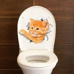 2PCS Cute Cat Hole 3D Bathroom Toilet Cover DIY -