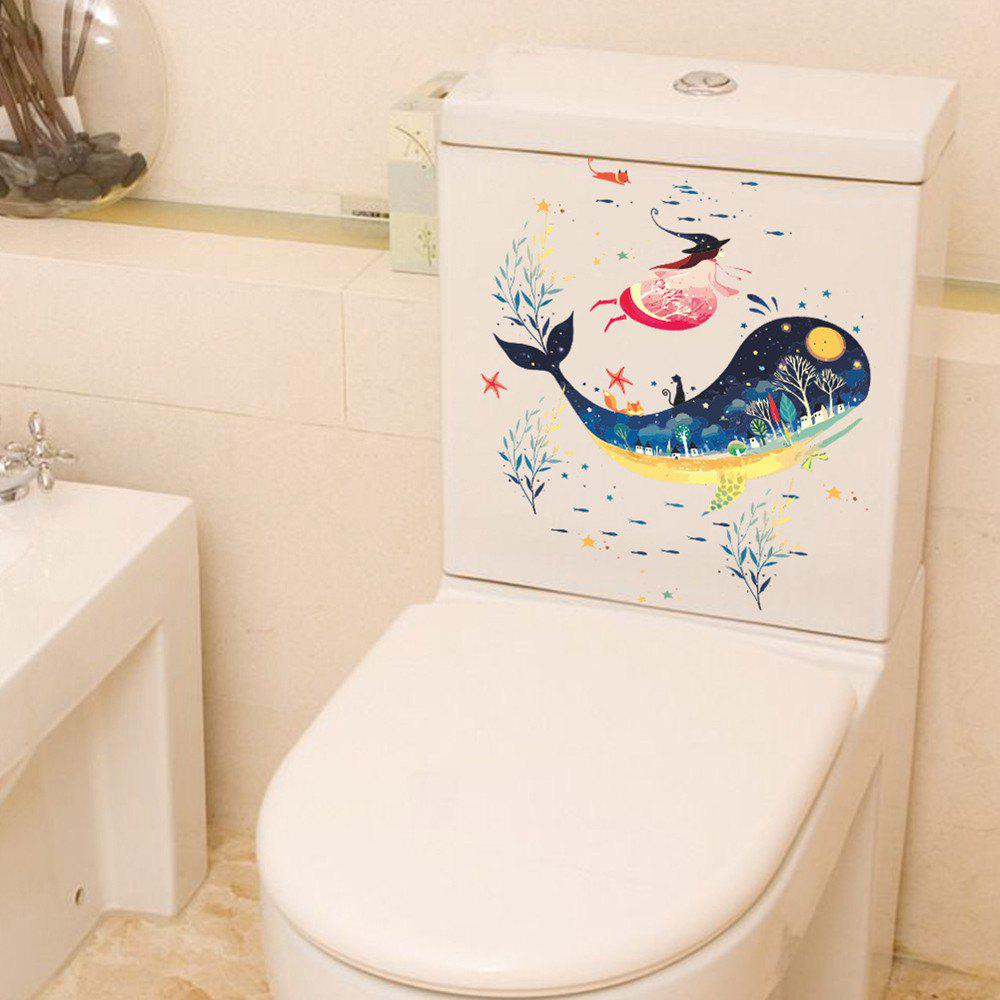 2PCS Whale 3D Autocollant Toilette Amovible Décoration Diy