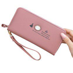 Women'S Hand Wallet Long Solid Color Large Capacity Zip Coin Purse -