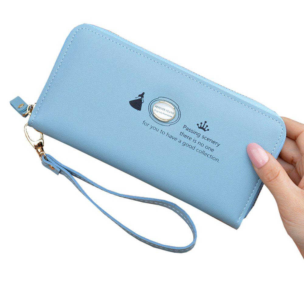 Hot Women'S Hand Wallet Long Solid Color Large Capacity Zip Coin Purse