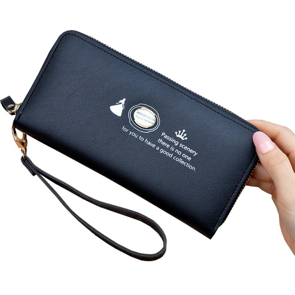 Fashion Women'S Hand Wallet Long Solid Color Large Capacity Zip Coin Purse