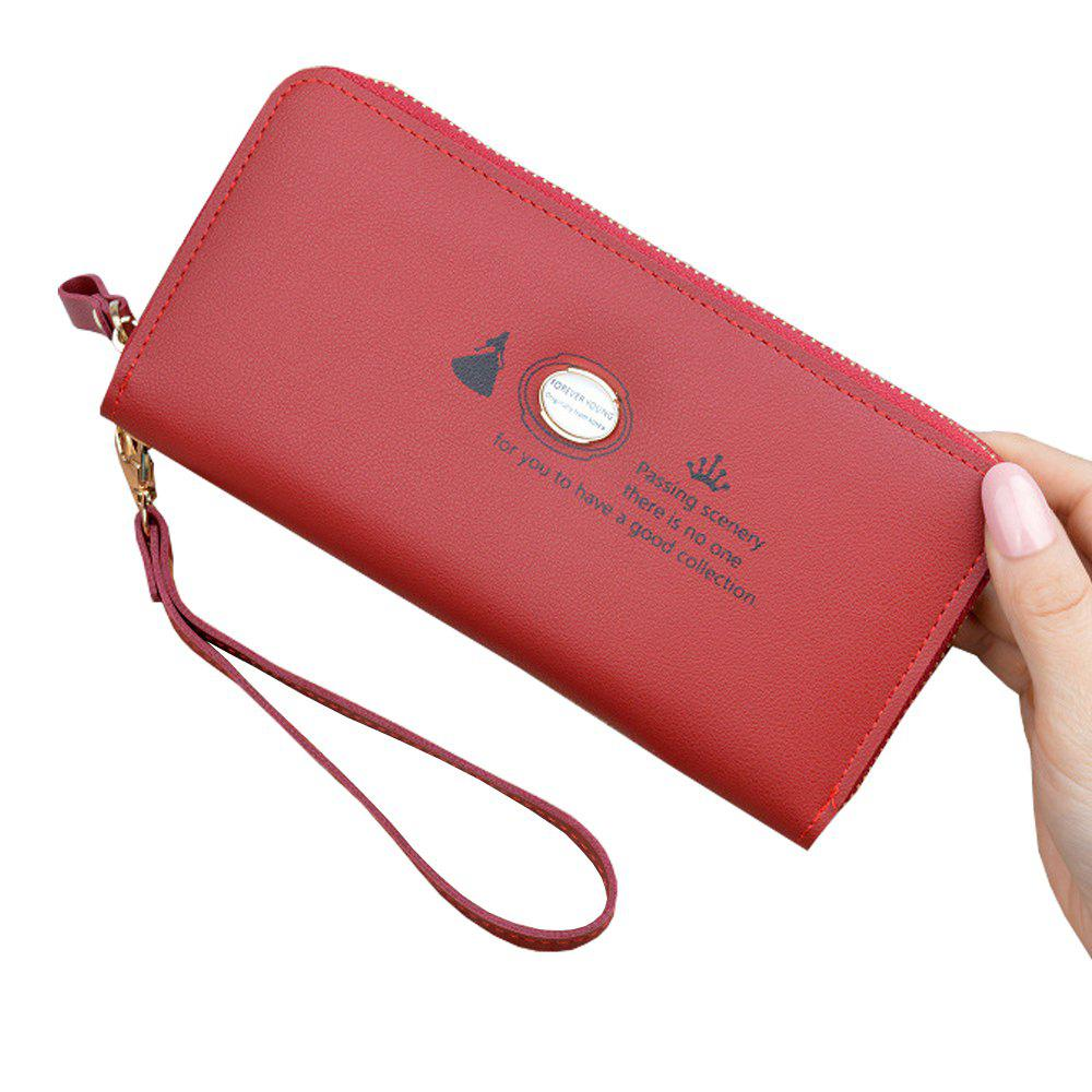 Fancy Women'S Hand Wallet Long Solid Color Large Capacity Zip Coin Purse