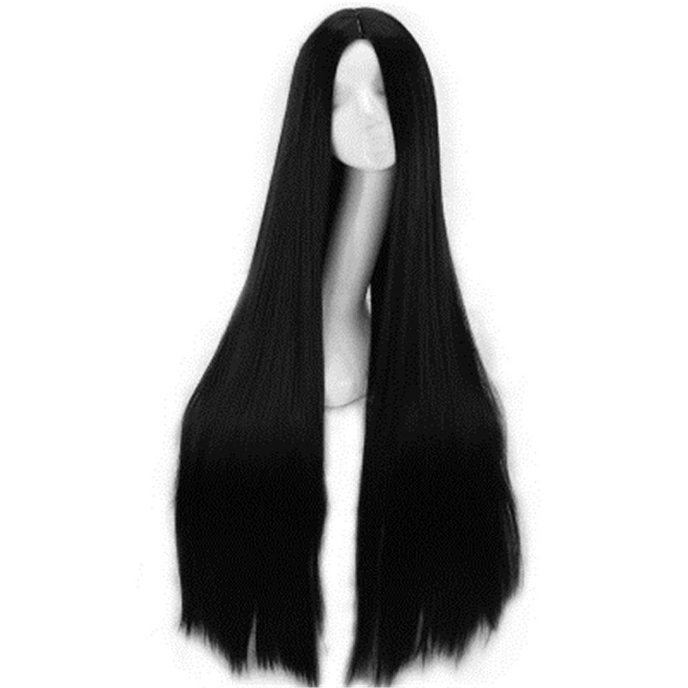 Fancy Black Hair Straight Hair Chemical Fiber Wig